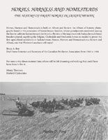 Back Cover of Horses, Harness and Homesteads - The History of Draft Horses in Saskatchewan